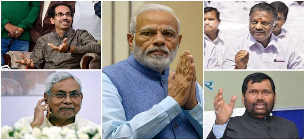 In pics: Prime Minister Narendra Modi, Shiv Sena chief  Uddhav Thackeray, Bihar Chief Minister and JDU leader Nitish Kumar, Tamil Nadu Deputy Chief Minister and AIADMK leader O Panneerselvam and Union Minister and LJP chief Ram Vilas Paswan.