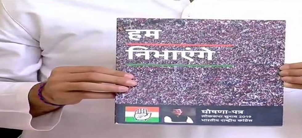 Congress party on Tuesday released the party's manifesto for the upcoming Lok Sabha Elections
