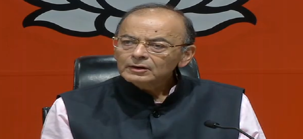 Finance Minister Arun Jaitley addresses press conference at the BJP headquarters in New Delhi.