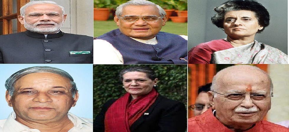 (From left to right) Narendra Modi, Atal Bihari Vajpayee, Indira Gandhi, Kanshi Ram, Sonia Gandhi, LK Advani.