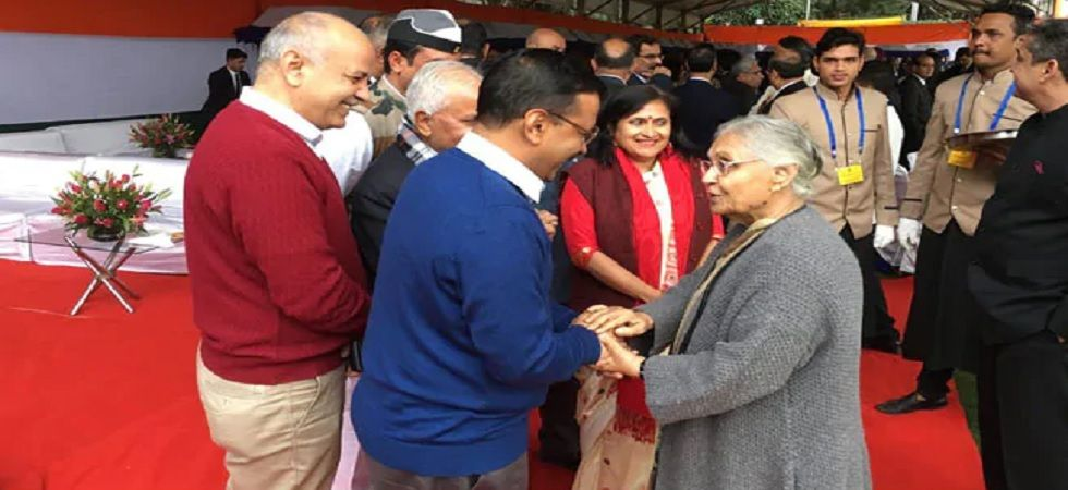 AAP chief Arvind Kejriwal with Delhi Congress president Shiela Dikshit (ANI Photo)
