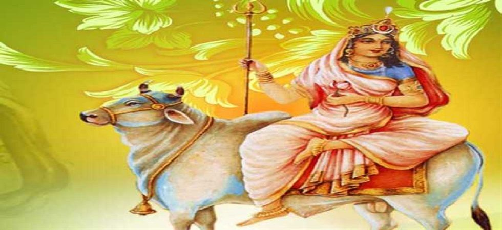 """Goddess Durga was born into the house of the King of Mountains --- Parvat Raj Himalaya --- so she is called """"Shailaputri"""" means the daughter of mountain. She is also known as Hemavati and Parvati."""