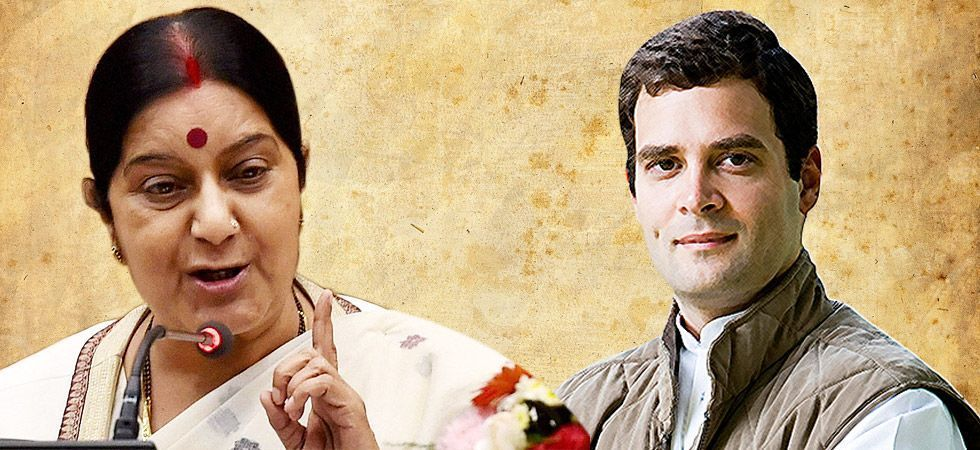 """Sushma Swaraj on Saturday asked the Congress president Rahul Gandhi to maintain """"some decorum"""" in his comments meted out to BJP veteran L K Advani"""