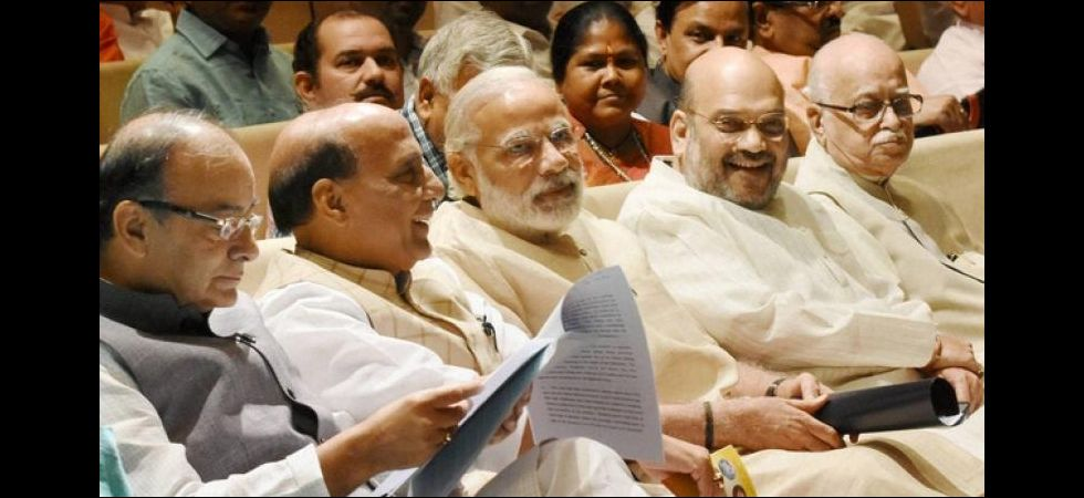 PM Modi with Amit Shah, Arun Jaitley, Rajnath Singh and L K Advani