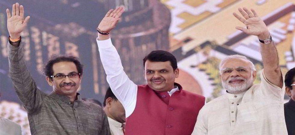 Prime Minister Narendra Modi, Maharashtra Chief Minister Devendra Fadnavis and Shiv Sena chief Uddhav Thackeray. (File photo)