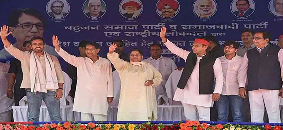 BSP chief Mayawati, SP president Akhilesh Yadav and RLD's Ajit Singh recently addressed a joint rally in Deoband. (File photo: PTI)