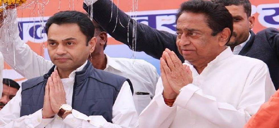 Kamal Nath with son Nakul, (File)