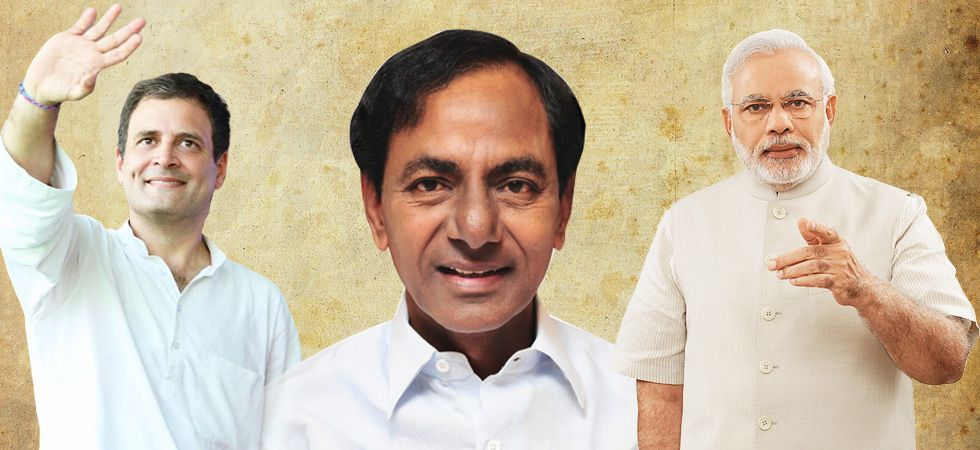 Telangana Chief Minister and TRS leader KCR, Prime Minister Narendra Modi and Congress chief Rahul Gandhi. The TRS has set a target of securing 16 seats leaving Hyderabad for its ally All India Majlis-e-Ittehad-ul-Muslimeen. (File photo)