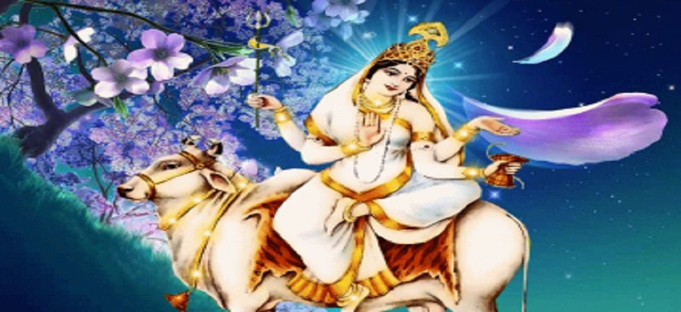 Maa Mahagauri is usually depicted with four hands, the hands holding a trident, lotus and drum, while the fourth is in a blessing gesture.