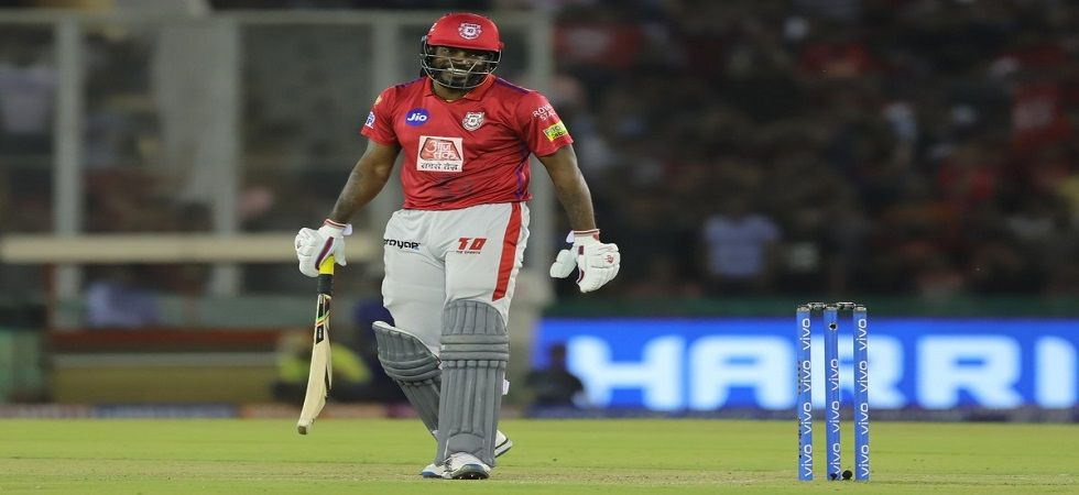 Chris Gayle became the second player after Suresh Raina to be stranded on 99. (Image credit: Kings XI Punjab Twitter)