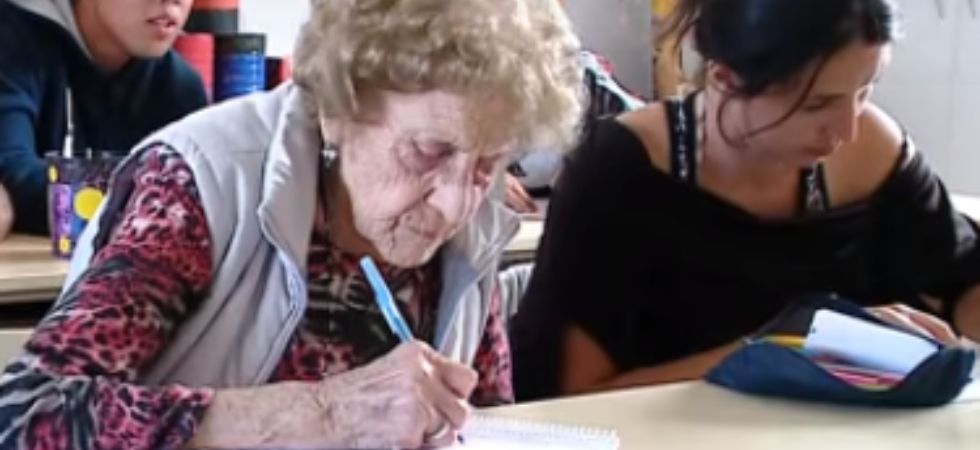 Woman goes back to school at the age of 99.
