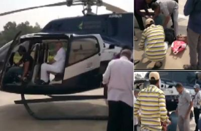 BS Yeddyurappa's luggage checked by Election Commission at helipad in Shivamogga
