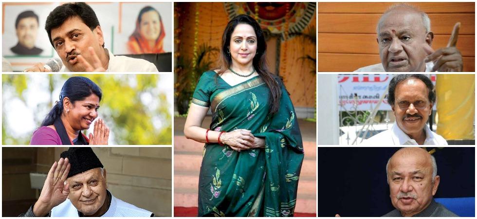 BJP candidate Hema Malini, Congress leader Ashok Chavan, DMK leader Kanimozhi, NC leader Farooq Abdullah, JDS leader HD Deve Gowda, AIADMK's M Thambidurai and Congress leader Sushilkumar Shinde.