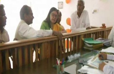 Union Minister Maneka Gandhi files her nomination papers for Sultanpur Lok Sabha constituency