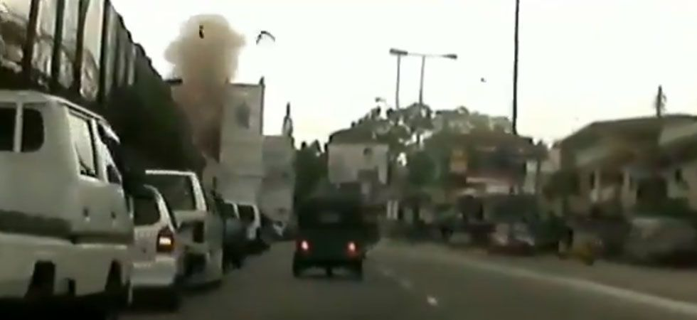Screen grab of a purported video footage of Sri Lanka blast.