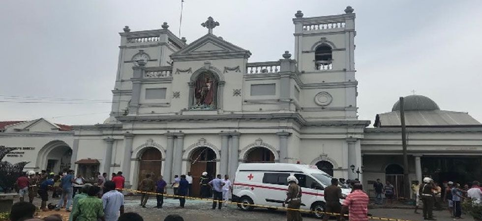 Chaotic scene at St Sebastian's Church after bomb blast. (Photo: Twitter)