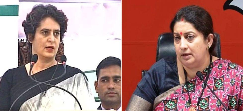 Dubbing Smriti Irani as an 'outsider', Priyanka Gandhi accused her of misleading the voters in Amethi. (Image Credit: ANI)