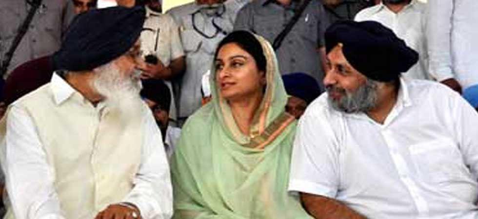 Harsimrat Kaur Badal with Prakash Singh Badal (left) and Sukhbir Singh Badal (right). (PTI Photo)