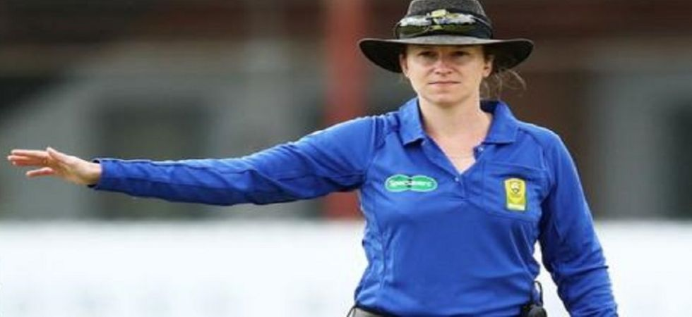 Claire Polosak became the first woman umpire to officiate in a men's ODI during the final of the ICC Cricket World League Division 2. (Image credit: Twitter)
