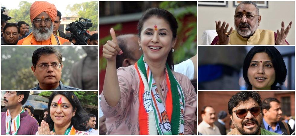 Congress candidate Urmila Matondkar, BJP's Sakshi Maharaj, BJP leader Baijayant Panda, Congress leader Priya Dutt, Giriraj Singh, Dimple Yadav and Babul Supriyo.