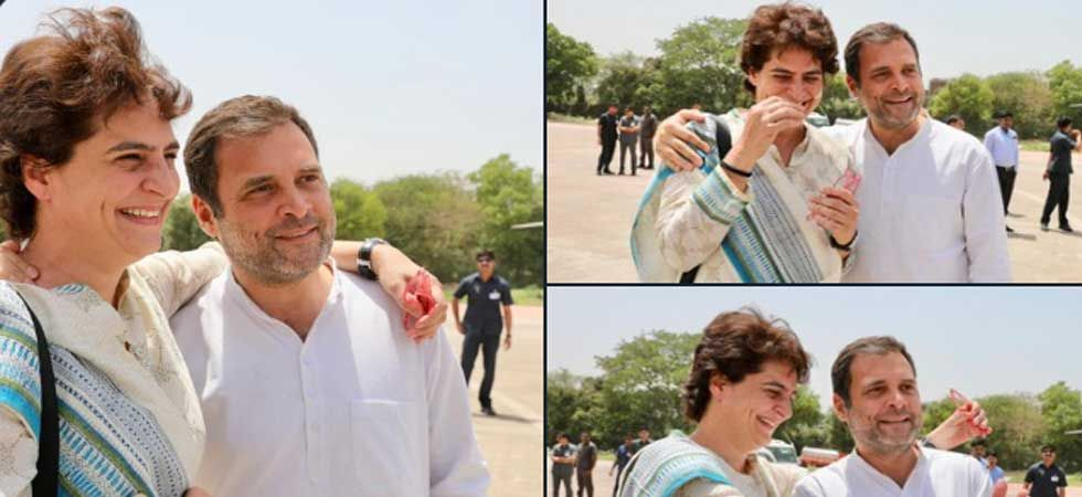 Rahul Gandhi with sister Priyanka at Kanpur Airport (Photo: Twitter/@INCIndia)