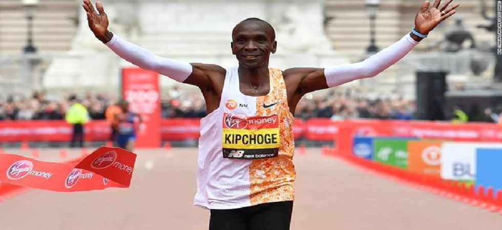 Eliud Kipchoge's time of two hours two minutes and 37 seconds was second only to the 2:01:39 he ran in Berlin last year. (Image credit: Twitter)