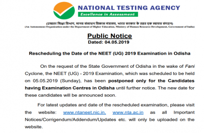 NEET 2019 exam postponed in Odisha, new dates to be announced soon