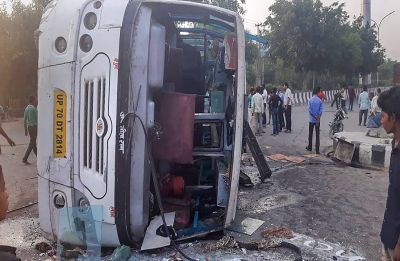 Bus with over 40 passengers overturns in Noida, several injured