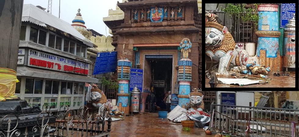 Idol at entrance of Puri's Jagannath temple damaged by Cyclone Fani