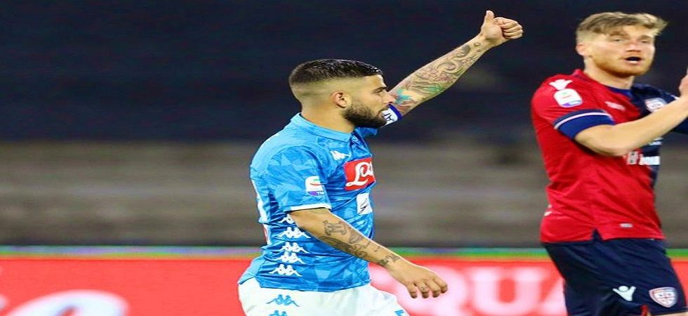 Lorenzo Insigne scored a penalty in the 98th minute as Napoli defeated Cagliari 2-1 to seal the second spot in the Serie A. (Image credit: Twitter)