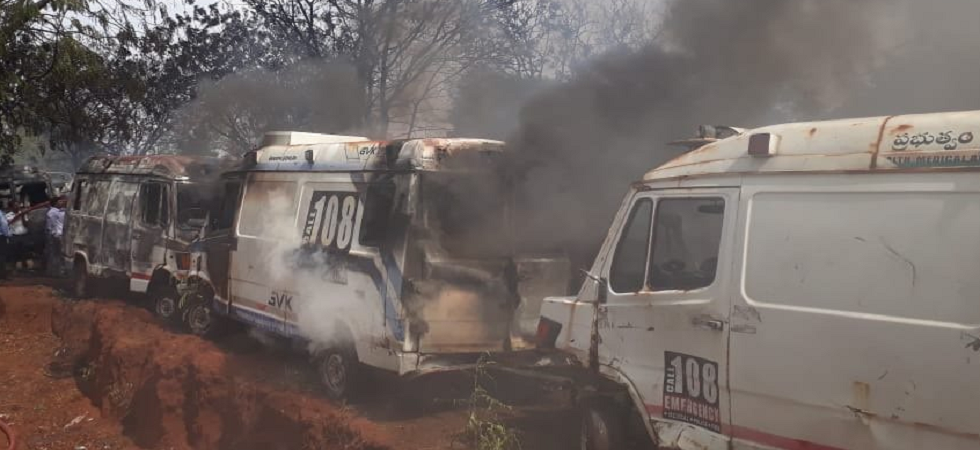 50 government ambulances gutted in fire at GVK-EMRI parking lot in Hyderabad
