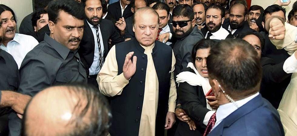 Maryam and nephew Hamza Shehbaz along with hundreds of Pakistan Muslim League-Nawaz (PML-N) workers accompanied the three-time former premier to surrender himself to jail authorities