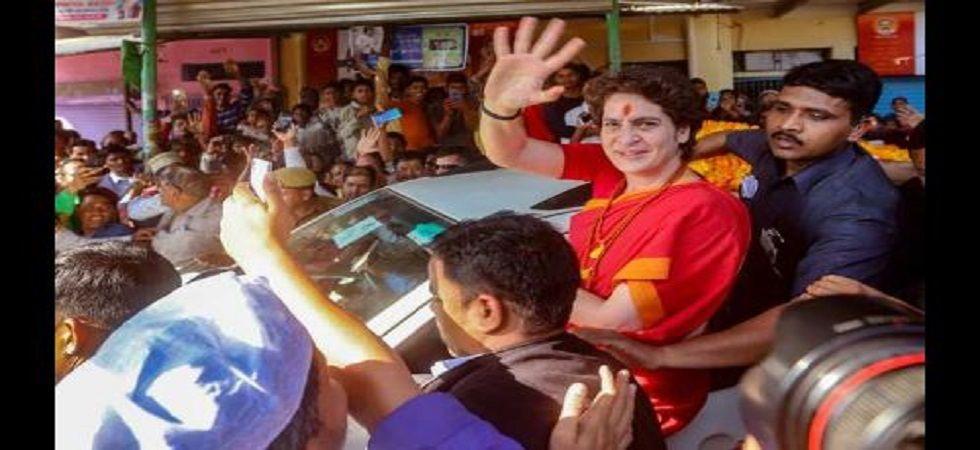 Congress leader Priyanka Gandhi Vadra during a roadshow in Delhi.