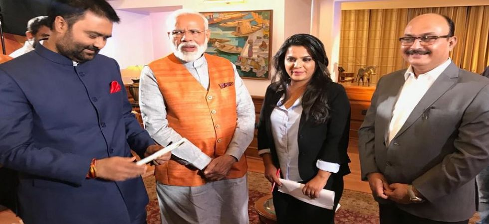 Prime Minister Narendra Modi with News Nation team (Photo Credit: News Nation)