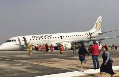 Nail-biting touchdown: Myanmar pilot safely lands plane on its nose after landing gear failure