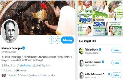 Mamata, Trinamool Congress leaders change Twitter, Facebook profile picture to Vidyasagar's image