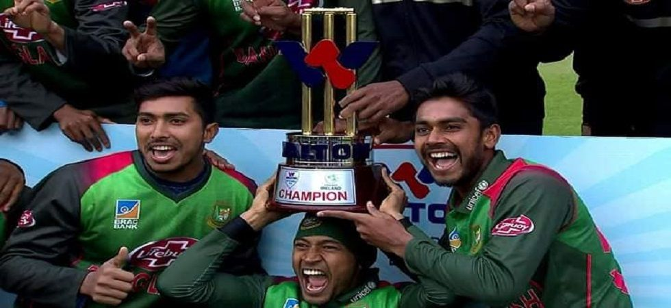 Bangladesh secured their first-ever multi-nation tournament win after they defeated the West Indies in the tri-series also involving Ireland. (Image credit: Twitter)