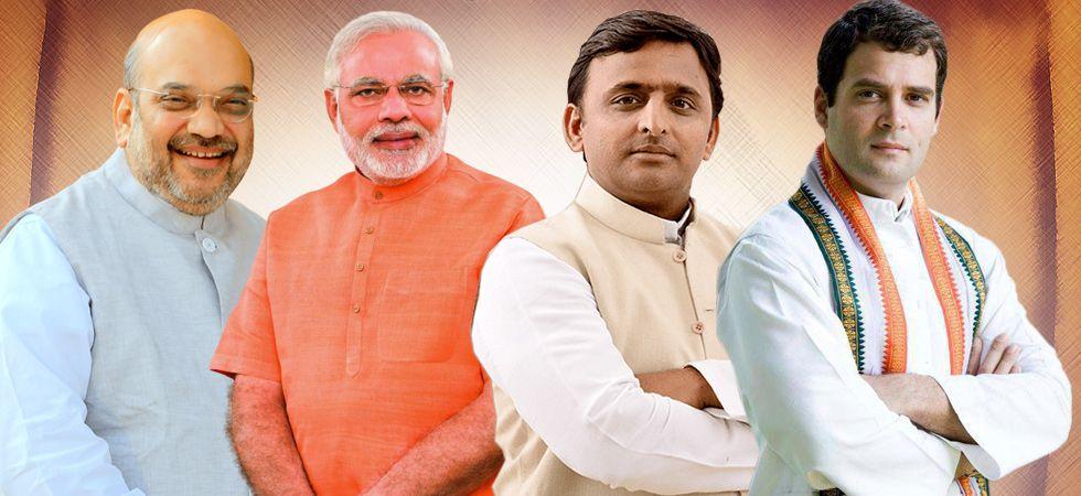 BJP president Amit Shah, Prime Minister Narendra Modi, SP chief Akhilesh Yadav and Congress president Rahul Gandhi
