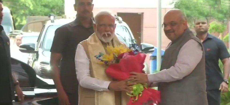 PM Narendra Modi and Amit Shah at BJP headquarters.