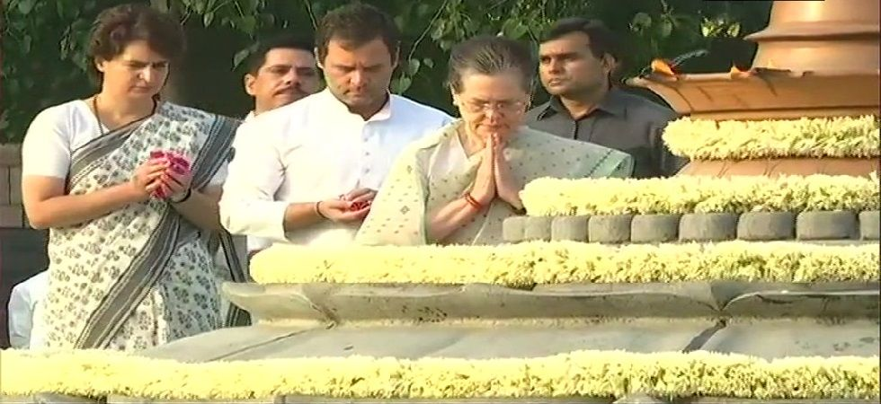 UPA Chairperson Sonia Gandhi, Congress President Rahul Gandhi and Congress General Secretary for UP (East) Priyanka Gandhi Vadra paid tribute to the former Prime Minister Rajiv Gandhi, at Veer Bhumi. (Photo: ANI)