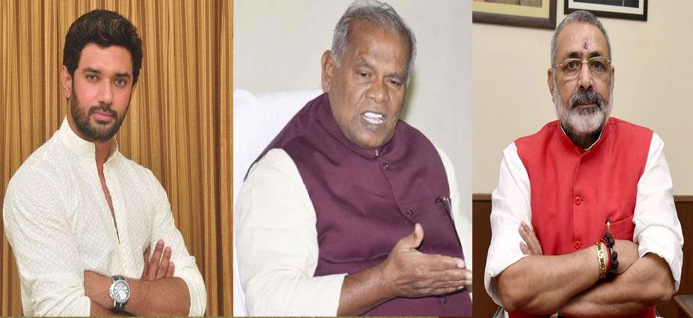 Chirag Paswan, Jitan Ram Manjhi and Giriraj Singh. (File Photo)