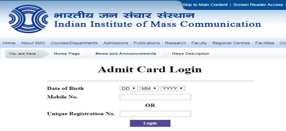 IIMC Entrance Exam 2019: Admit cards for admission to PG diploma courses out