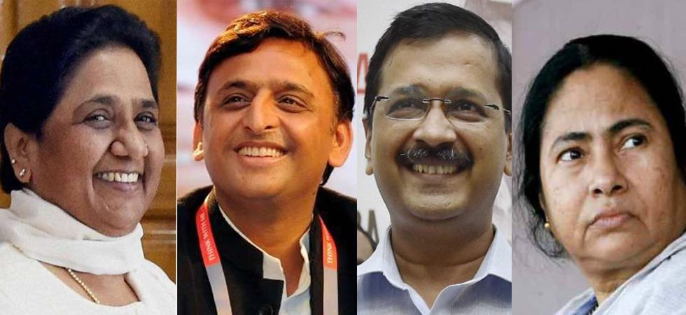 (Left to Right): BSP chief Mayawati, former UP CM Akhilesh Yadav, Delhi CM Arvind Kejriwal, West Bengal CM Mamata Banerjee