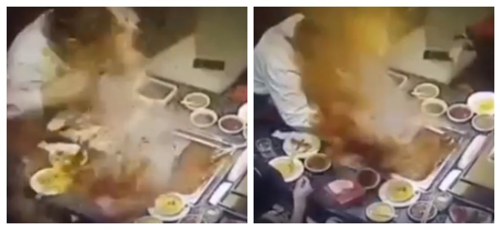 Horrifying footage captures boiling soup exploding on waitress's face (Photo: YouTube)