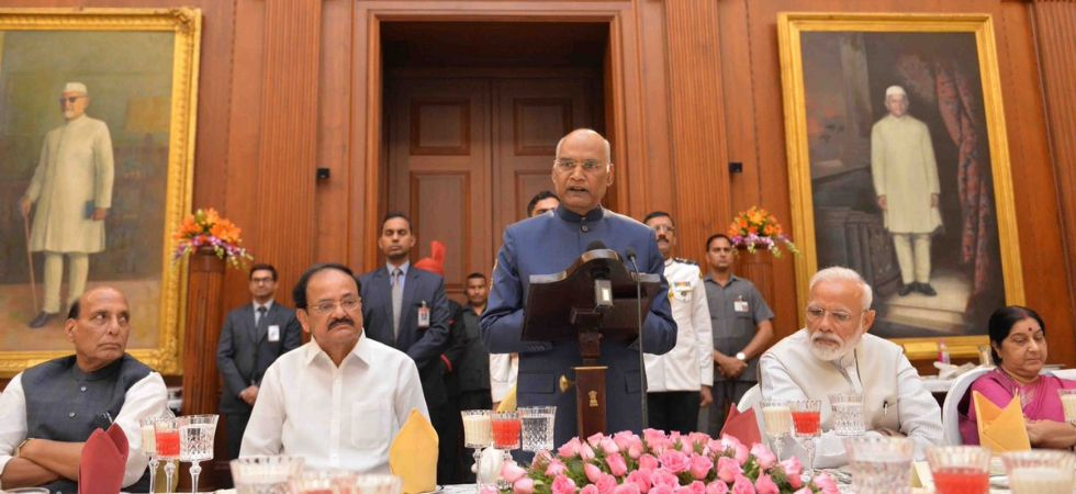 President Kovind hosted a banquet in honour of the outgoing Union Council of Ministers led by Prime Minister Narendra Modi at Rashtrapati Bhavan on Friday. (Rashtrapati Bhavan/Twitter)