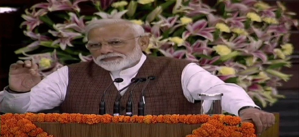 Narendra Modi addresses NDA lawmakers in Parliament's Central Hall