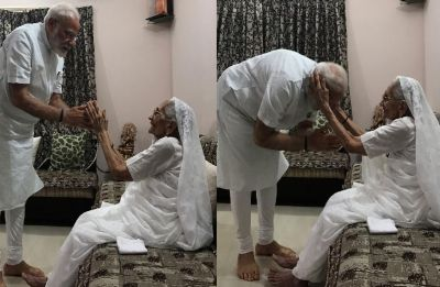 PM Modi meets mother Heeraben at Gandhinagar residence, seeks blessings