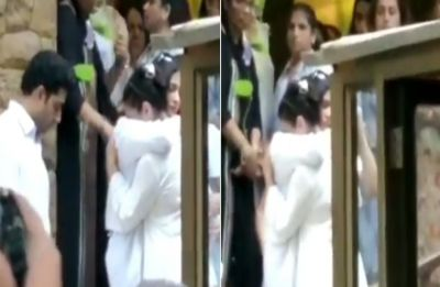 Watch VIDEO: Kajol breaks down in Aishwarya Rai Bachchan's arms at father-in-law Veeru Devgan's funeral