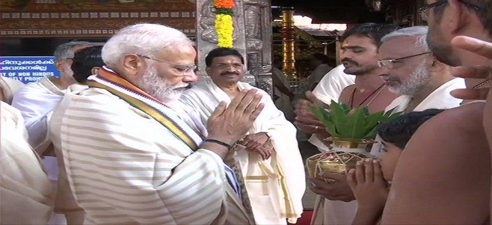 Prime Minister Narendra Modi offers prayers at Sri Krishna Temple in Guruvayur of Thrissur. (Photo: ANI)