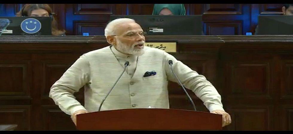 PM Narendra Modi addresses Maldivian Parliament, the Majlis, (Twitter)